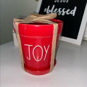 NWT Rae Dunn Red Joy Christmas flower pot